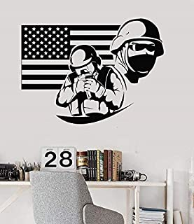 57x42cm,Wall Stickers for Bathroom,Wall Tattoo Art,American Flag Soldier American Patriot University Dormitory Background Kitchen Bedroom Boys Murals Artwork Art Decoration Waterproof Home