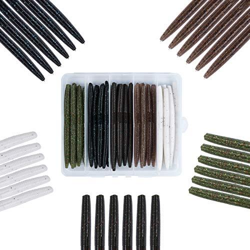 Mgotu Wacky Senko Worms-4'' 5''Soft Plastic Lures,Bass Fishing Baits Kit with Tackle Box Freshwater Saltwater