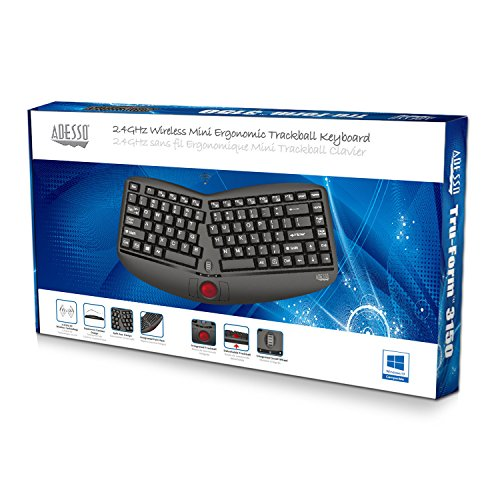 Adesso WKB-3150UB - Wireless Ergonomic Keyboard with Built-in Removable Trackball and Scroll Wheel, Split Key, Long Battery Life, Small and Portable -Compatible for Laptop/Desktop/PC/Windows XP/7/8/10