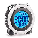 目覚まし時計 大音量 光 ベル ダブルアラーム スヌーズ 機能 LED バックライト デジタル 電池式 2つ アラーム 卓上 置き時計 【意匠登録済み】