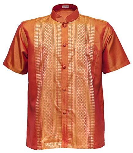 Männer Kurzarm Thai Seidenhemd Mandarin Band Kragen Casual (L, Orange)