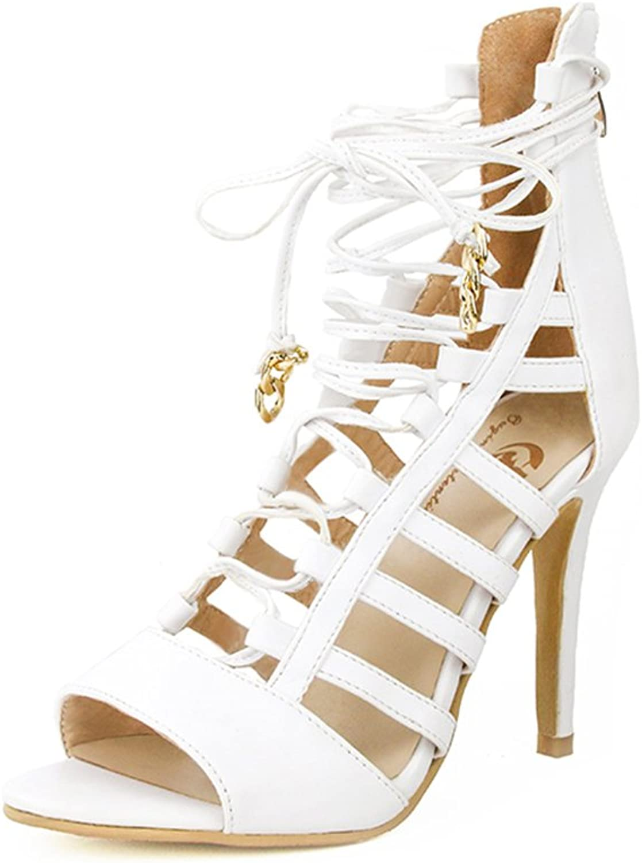 Original Intention Women Sandals Gladiator Strap Lace up Fashion Open Toe Thin High Heels Beautiful Elegant White shoes