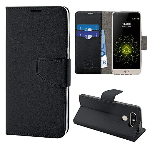 N NEWTOP Cover Compatibile per LG G5, HQ Lateral Custodia Libro Flip Chiusura Magnetica Portafoglio Simil Pelle Stand (Nera)
