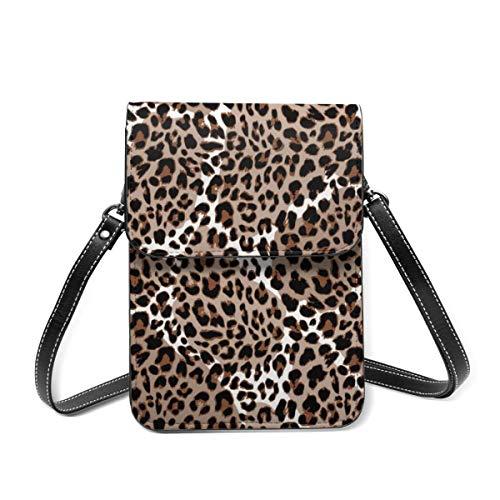 Bolso de hombro pequeño, diseño de leopardo o Jaguar, moderno, con estampado de animales, para teléfono celular, cartera ligera para mujeres y niñas