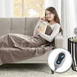 Beautyrest Fleece Electric Blanket Heated Throw Wrap Super Soft Hypoallergenic with Auto Shutoff-3-Setting Controller, 50x60, Brown