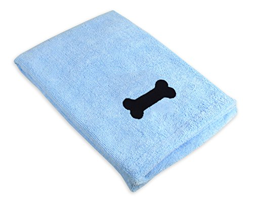 Bone Dry Embroidered Pet Towel, 44 x 27.5', Blue