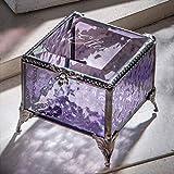 Personalized Purple Glass Box Decorative Vanity Display Case Storage Jewelry Organizer Keepsake Gift for Her Girl Women Purple Vintage Decor J Devlin Ellen Box 836 EB245