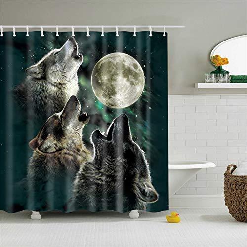 TKWNB Duschvorhang 3D drucken Nordic Bath Duschvorhang Wasserdichter Duschvorhang aus Polyester Hochwertiger Duschvorhang mit Animal-Print für Badezimmer 180x180cm