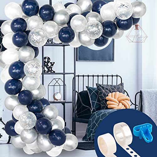 Whaline 120 Pcs Balloon Arch & Garland Kit, Navy Blue Pearl White Latex Silver Confetti Balloons Set with 16ft Balloon Strip Tape,1pcs Tying Tool and 100 Glue Point for Wedding Birthday Party Decor