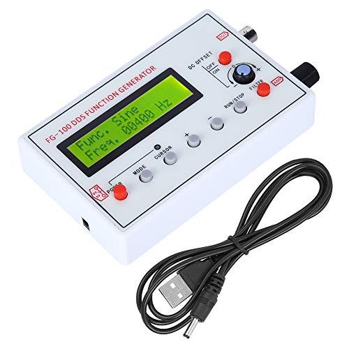 Generador de funciones DDS FG-100 Generador de señales DDS, con cable USB, manual de instrucciones, para atenuadores de osciloscopio y ajuste de pulso de sonda