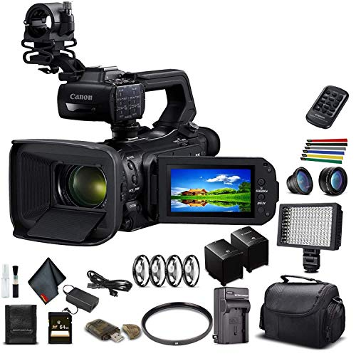 Canon XA50 Professional UHD 4K Camcorder (3669C002) W/Extra Battery, Soft Padded Bag, 64GB Memory Card, LED Light, Close Up Diopters, Lenses, and More Advanced Bundle (Renewed)