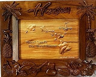 Koa Wood Picture Frame Hawaiian Design Pineapple With Plum Tree Design
