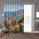 YUAZHOQI Cortinas correderas para puerta de patio, paisaje, vista aérea de Málaga, 100 x 108 pulgadas de ancho cortinas oscurecimiento de habitación (1 panel)