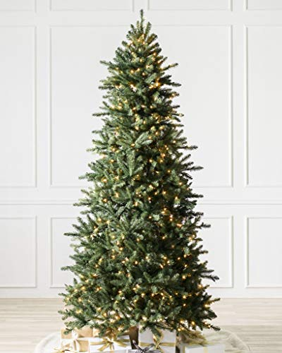 Balsam Hill 6.5ft Premium Pre-Lit Artificial Christmas Tree Berkshire Mountain Fir with Clear Incandescent Lights, Storage Bag, and Fluffing Gloves - High Quality Artificial Christmas Trees