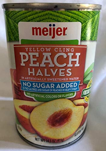 Meijer Peach Halves NO Sugar Added Gluten Free 2-14.5 ounce Cans