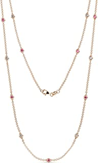 TriJewels Pink Sapphire and Diamond by the Yard 13 Stations Necklace 0.60 ct tw 14K Rose Gold.18 Inches in Length