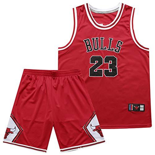 Maglie da Basket da Uomo per Ragazzi, Maglie da Basket NBA Michael Jordan # 23 Chicago Bulls, Tute Estive retrò, Divise da Basket, Set Top + Pantaloncini, Maglia da Tifoso,Rosso,L