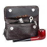 Borsa porta tabacco in vera pelle da viaggio per fumare pipa, custodia per conservare la freschezza con 2 tasche porta pipe.