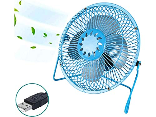 LEDLUX Mini ventilador de mesa de metal, alimentación con USB, color mixto, diámetro 19 cm