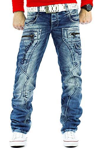 Cipo & Baxx Pantalones vaqueros para hombre con costuras decorativas y letras. azul claro 33W x 34L
