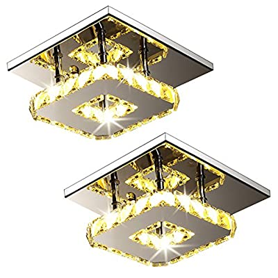 Modern Crystal LED Ceiling Light Pendant Flush Lamp Stainless Steel Fixture Lighting Chandelier