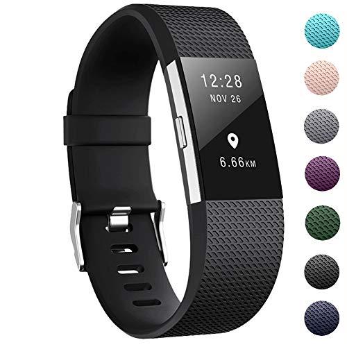 """Zekapu pour Fitbit Charge 2 Bracelet, Charge 2 Sangle réglable Sport Remplacement Bracelet avec Boucle en Acier Inoxydable Classique pour Fitbit Charge2, Grand (6.7""""- 8.1) Noir"""