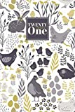 2021: Diary Day to Page A5 Full Day to View Daily Planner | Lined Writing Journal | Yellow & Grey Folk Art Farmyard Hens & Chicks Pattern