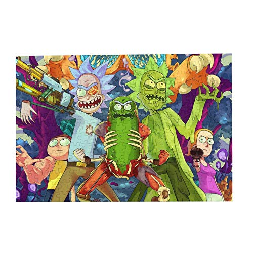 Rick-Morty Wooden Jigsaw Puzzles for Adults Kids Challenging Puzzle Game 300 Piece/Pcs