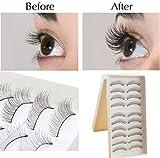 Edealing 10Pairs Makeup Handgemachte natürliche schwarze lange falsche Wimper-Augen-Peitsche-Sparse