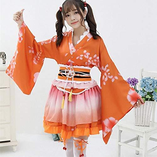 Sexy Chicas Aman Animado Cosplay Vivo Traje Japonés Kimono Original De Época Tradición Trajes De Yukata Vestido De Halloween For Las Mujeres Zzzb (Color : Orange, Size : One Size)