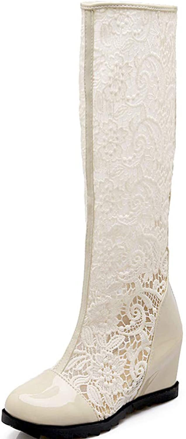 Vimisaoi Women Lace Pu Patent Leather Round Closed Toe Back Zipper Knee High Long Increased Hidden Heel Pierced Boots