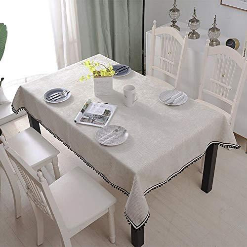 YQ QY Tischdecke Tischdecke Antifouling Chenille Außen Sanft Gefühl Rechteckige (rechteckige) Tischdecke Ideal for 6-8 Gedeckte Esstische QY Tischdecke (Color : Off-White, Size : 140 * 180cm)