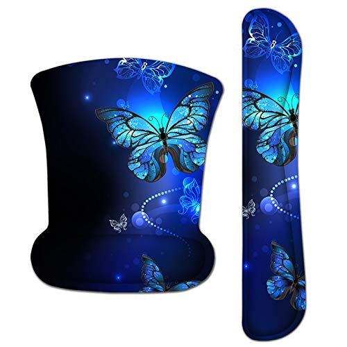 Mouse Pad with Wrist Support and Keyboard Wrist Rest Pad Set,Ergonomic Mouse Pads for Computers Laptop,Non Slip Comfortable Mousepad Raised Memory Foam for Easy Typing Pain Relief, Blue Butterfly