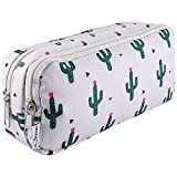 SIQUK Cactus Pencil Case Large Capacity Pen Case Double Zippers Pen Bag Office Stationery Bag Cosmetic Bag with Compartments for Girls Boys and Adults