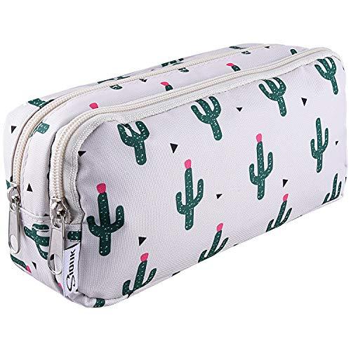 SIQUK Estuche de lápices de gran capacidad Cremalleras dobles Bolso de la pluma de cactus Organizador del sostenedor de la pluma del bolso inmóvil con los compartimientos