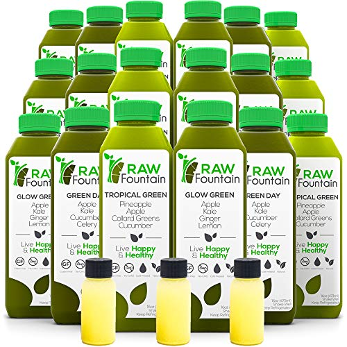 Raw Fountain 3 Day Green Juice Cleanse, All Natural Raw, Vegan Detox, Cold Pressed Juice, 18 Bottles 16oz, 3 Ginger Shots