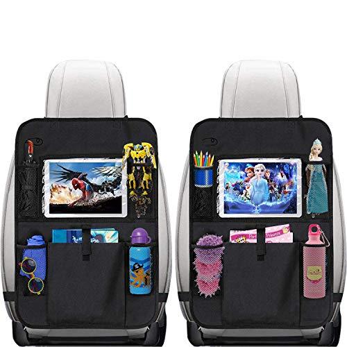 Autositzschoner Rückenlehne Kinder 2 Stk.- Rückenlehnenschutz Auto Kinder- Sitzschoner Auto Rückenlehne- 12 Zoll IPad- Kinder Auto Organizer für das Spielzeug