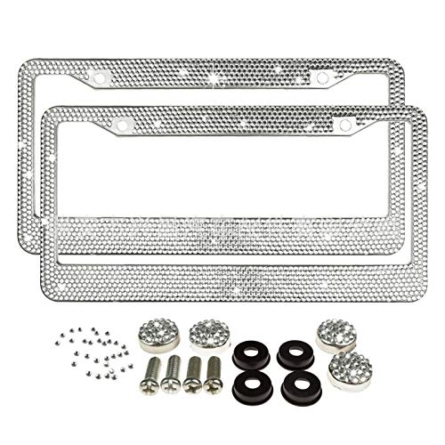License plate bracket audi 2pcs/set Car License Plate Fram Handcrafted Bling Shimmer 8 Row Rhinestone Trim Stainless Steel License Plate Frame license plate bracket audi a6