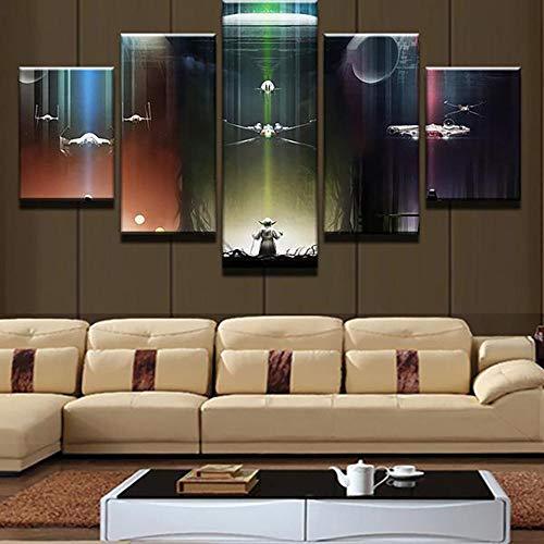 104Tdfc Star Wars Yoda Darth Vader Todesstern Bilder 5 teilig Dekorative leinwand malerei 5 stück Leinwandbild wandbilder Wohnzimmer Schlafzimmer Wand Dekoration XXL Tapete