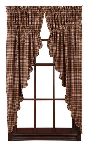 VHC Brands Prescott Prairie Short Panel Scalloped Set of 2 36x63x18 Country Curtains, Dark Brown