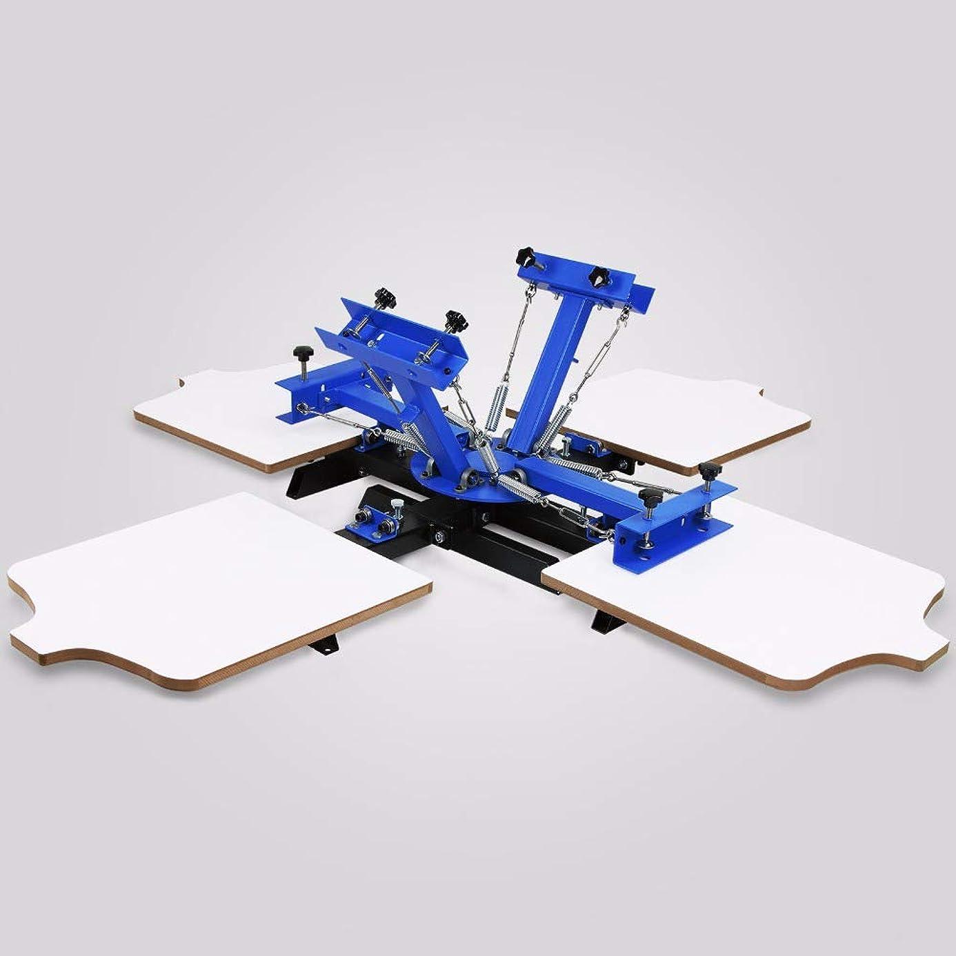 入口雇用者セージ4色4ステーション印刷カルーセルTシャツ手動シルクスクリーン印刷機