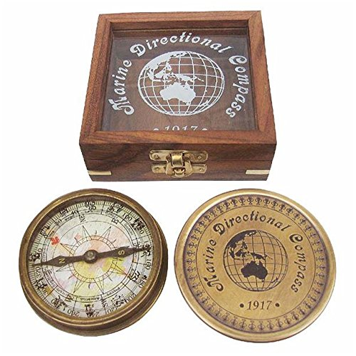Kompass aus Antik-Messing in edler Holzbox mit Glasdeckel