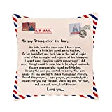 DWDC Pillow Covers18x18Inch to My Daughter in-Law Never Forget Your Way Back Home I Can Promise Love You for Rest of Mine Birthday Gift Cotton Linen SquareThrow Pillow Case Decorative Cushion Cover