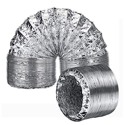 AZITICY Aluminium Lüftungsschlauch Aluflexrohr 150mm Alu-Flexschlauch Luftschlauch Alurohr Abluft für Klimaanlagen, Wäschetrockner, Abzugshaube Trocknerzubehör (ø150mm*2m)