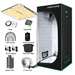 """Package Include: Grow light complete kit includes TS1000W grow light, 70*70cm growing tent,4""""inline duct fan with speed controller, 4""""carbon filter, 33ft length flex ducting, humidity thermometer,timer,4pcs 5Gallon grow bags,duct clamps, adjust rope ..."""