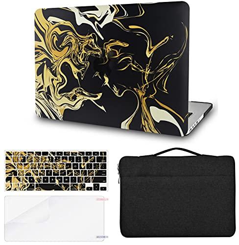 KECC Funda para MacBook Pro de 13 pulgadas (2020/2019/2018/2017/2016, Touch Bar) con funda para teclado + funda + protector de pantalla (4 en 1) carcasa rígida A2159/A1989/A1706/A1708 (oro negro)