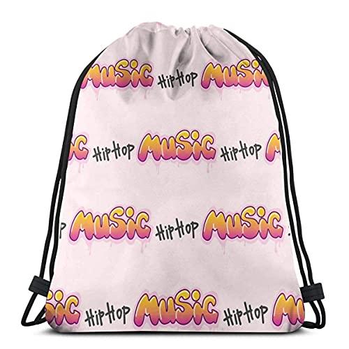 Lmtt Bolsas de cuerdas para el gimnasio Texto de artes musicales de hip hop Mochilas Casual Unisex Escuela Bolsa de Cuerda Bolsas de Gimnasia 36*42cm