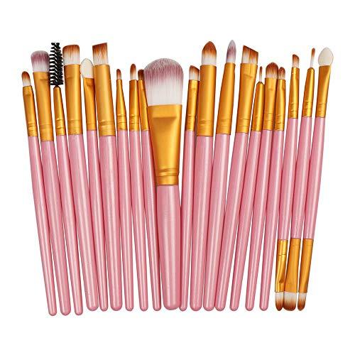 Pinceau De Maquillage Professionnel Fard À Paupières Foundation Eye Lip Brush Set, Pink + Gold