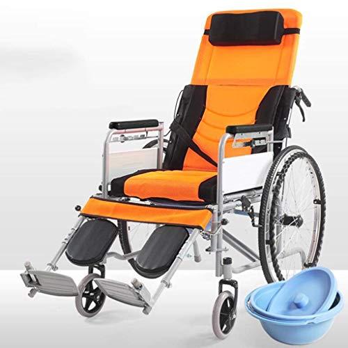 AOLI Silla de ruedas reclinable con respaldo alto autopropulsada, aleación de aluminio autopropulsada con inodoro móvil desmontable con respaldo alto plegable para discapacitados/ancianos,Amarillo ⭐