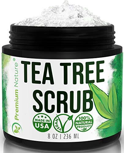 Tea Tree Oil Body Scrub - 12 oz 100% Natural Body & Foot Scrub - Best Antibacterial Antifungal Exfoliator with Dead Sea Salt and Essential Oils - Fungal Treatment Athletes Foot Premium Nature